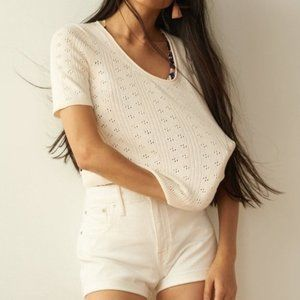 Madewell White Pointelle Willford Sweater Tee (M)